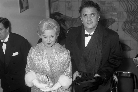 Giulietta Masina e Federico Fellini alla première del film «8 ½» al Cinema Fiamma. Roma, 13.2.1963