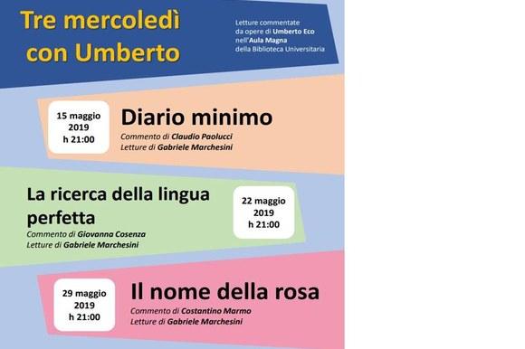 Tre mercoledì con Umberto | Letture commentate da opere di Umberto Eco nell'Aula Magna della Biblioteca Universitaria