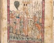 Mahazor di rito sefardita | c.6v con disegno a penna raffigurante il passaggio del Mar Rosso